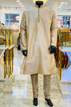 Light Peach Silk Men's OuFit with silver buttons and churidar trousers