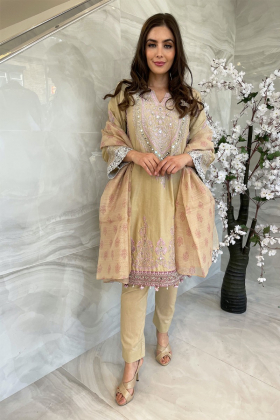 3 Piece lawn luxury embroidered suit in beige