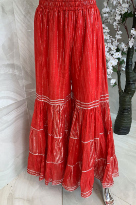 Light weight casual cotton gharara in red and silver