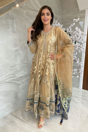 3 Piece luxury embroidered long dress in gold