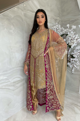 3 Piece luxury embroidered gold and plum jacket stye suit