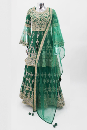 Green traditional embroidered lengha suit