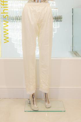 White linen embroidered capri trousers