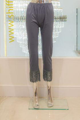 Grey linen leggings with a crotchet style lace ankle band