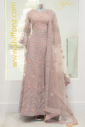 3 Piece luxury embroidered dusty pink lengha suit