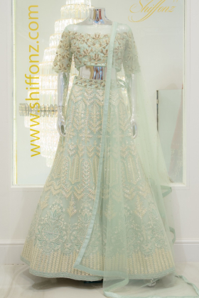 3 Piece luxury embroidered mint lengha suit