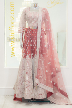 3 Piece pink and maroon luxury embroidered lengha suit