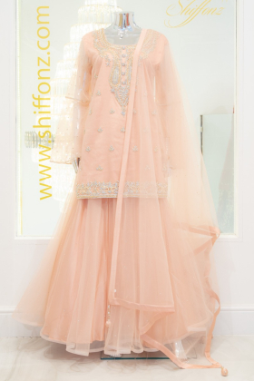 3 Piece net embroidered pink lengha suit