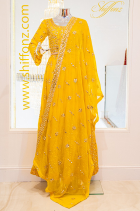 3pcs Yellow colour mehndi out fit with mirror beads embroidery