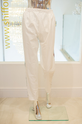 White cotton with green and red side stripes straight trousers