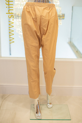 Beige cotton with green and red side stripes straight trousers