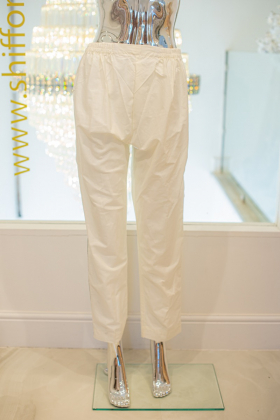 Off white cotton with green and red side stripes straight trousers