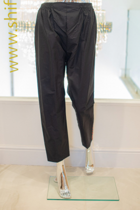 Black cotton with green and red side stripes straight trousers