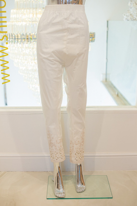 White embroidered cut trousers