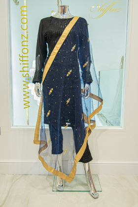 Light weight net navy dupatta