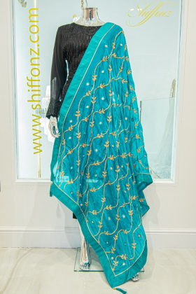 Turquoise silk dupatta with gotta patti work