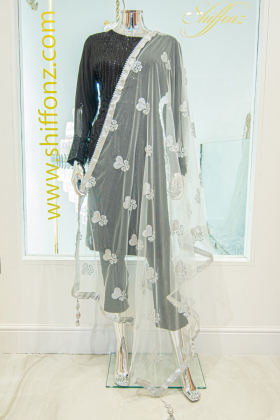 Light weight net silver dupatta