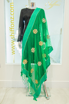 Green tissue light weight dupatta