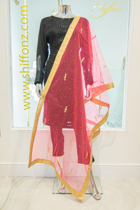 Light weight net dark peach dupatta