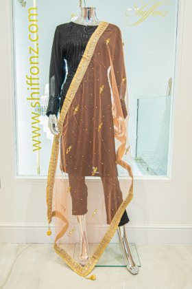 Light weight net light orange dupatta
