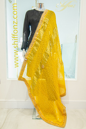 Chunri chiffon yellow dupatta