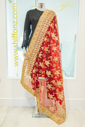 Red net embroidered dupatta