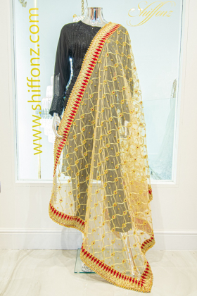 Net gold embroidered dupatta-Free size