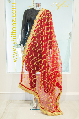 Net red embroidered dupatta