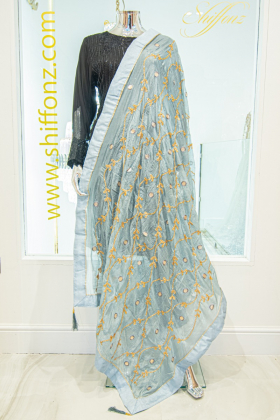 Grey silk dupatta with gotta patti work