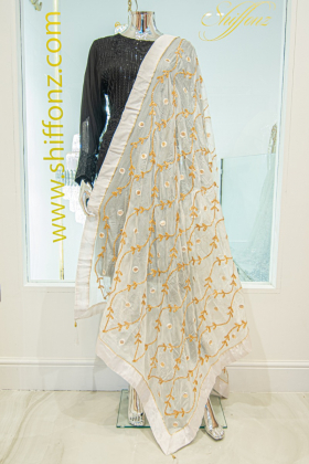 White silk dupatta with gotta patti work