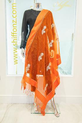 Dark orange tissue dupatta