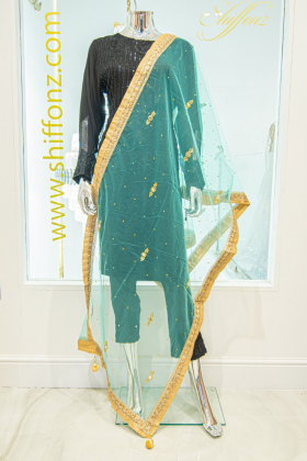 Light weight net green dupatta