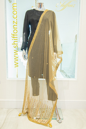 Net gold light weight dupatta