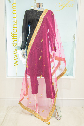 Light weight net pink dupatta