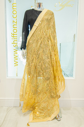 Gold silk dupatta with gotta patti work