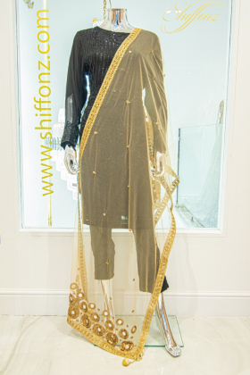 Net gold dupatta with sequence and mirror work embellishments