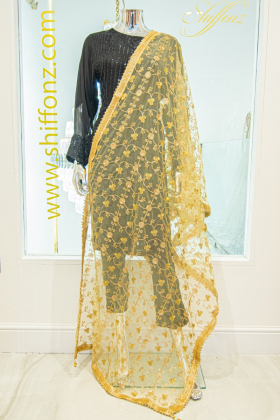 Thread-work embroidered gold net dupatta
