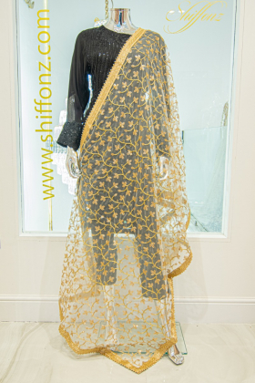 White thread-work embroidered net dupatta