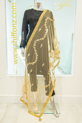 Mirror embellished net gold dupatta