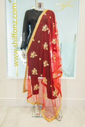 Embroidered red net dupatta