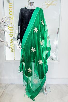 Tissue dupatta in green