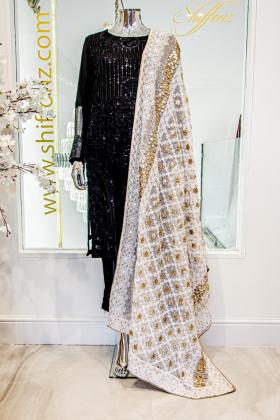White beautiful embroidered dupatta