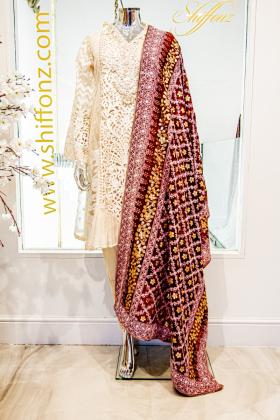 Maroon beautiful embroidered dupatta