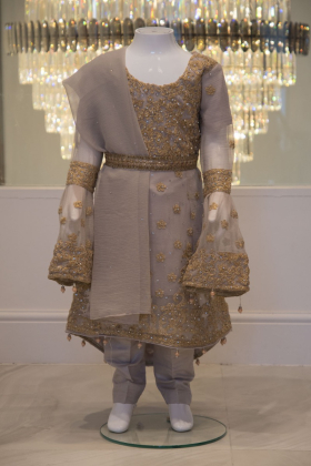 3 Piece light grey embroidered outfit
