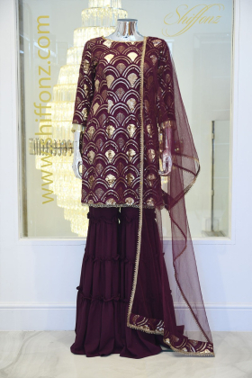 3 Piece sequence garara suit in purple