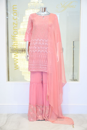 Chiffon garara 3 piece pink dress