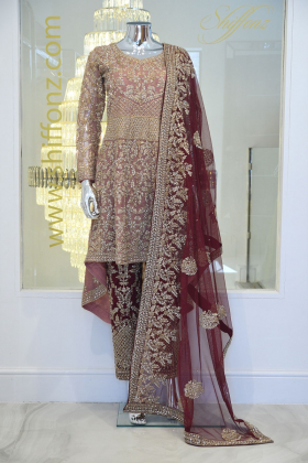 3 Piece luxury embroidered long back tail suit in dusty pink