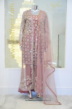 Jacket net style dustypink 3 piece dress