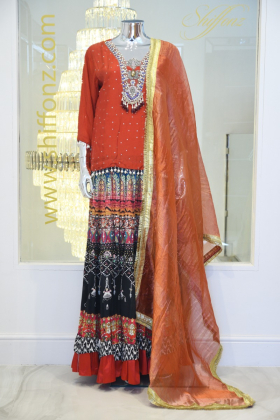 Contrasted 3 piece red lengha suit