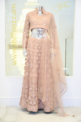 3 Piece embroidered peach lengha suit